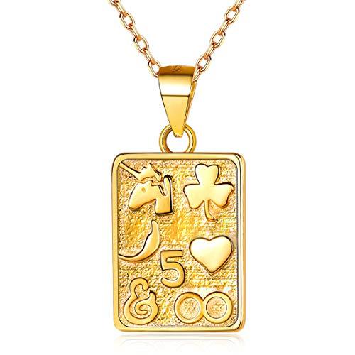 ChicSilver Poker Spielkarten Anhänger Halskette 18K Gold plattiert Platz Charme Schichtung Halsketten mit Geschenkbox