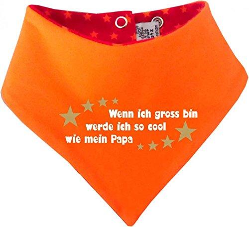 KLEINER FRATZ Foulard réversible pour bébé et enfant avec étoiles - Si j'ai gross bin werde ich aussi cool que Papa/in 4 designs/tailles 0-36 mois - Rouge - 98