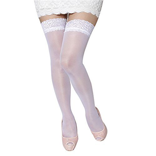 Ambysun Women Sexy Syockings Cuban Heel Tights White - Sexy Cuban Heel