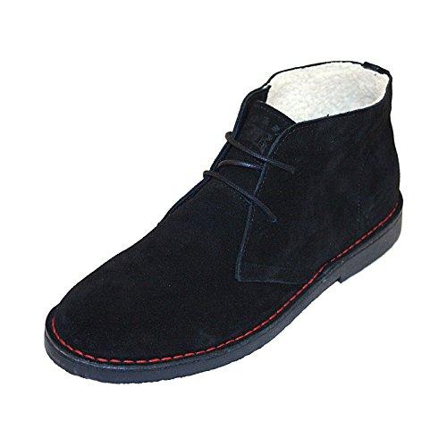 Boots & Braces - 2012er Winter 2-Loch Suede-Leder Stiefel mit Teddyfutter Schwarz/Black Schwarz