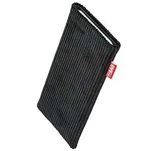 fitBAG Retro Schwarz Handytasche Tasche aus Cord-Stoff mit Microfaserinnenfutter für Apple iPhone 6 / 6S / 7 | Hülle mit Reinigungsfunktion | Made in Germany