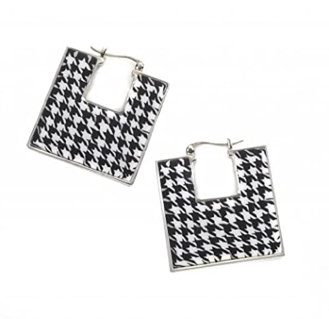 925 Sterling Silver Square Creole Hinged Hoop Earrings Houndstooth Chequered