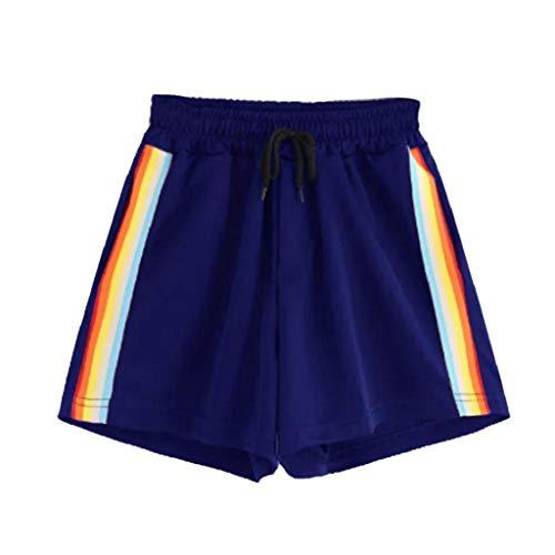 Damen Sommer Shorts Luckycat Kurze Sommerhosen Für Damen Gestreifte Banding Shorts mit hoher Taille Shorts Hose Sommerhosen Pants Hosen (Blau-03, L)