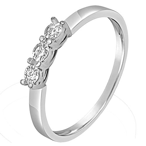c1041dcd078a Anillo Mujer Compromiso Oro y Diamantes - Oro Blanco 9 Quilates 375  Diamantes 0.03 Quilates