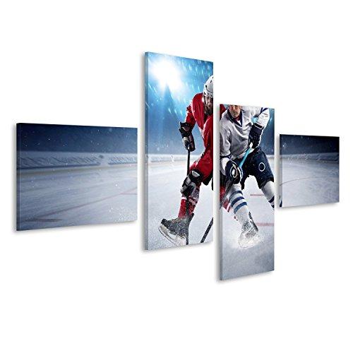 Cuadro Cuadros El jugador de hockey dispara la escena disco de hockey Impresión sobre lienzo - Formato Grande - Cuadros modernos