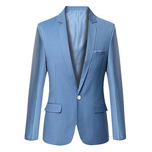 Uomo Blazer Classico Slim Fit Un Pulsante Cappotto Giacca Azzurro Chiaro