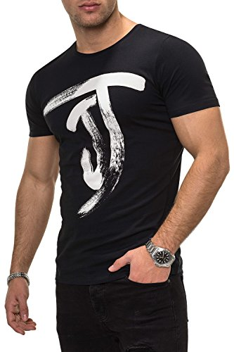 JACK & JONES Herren T-Shirt Kurzarmshirt Top Print Shirt Casual Basic O-Neck (XL, Black) (Print-shirts)