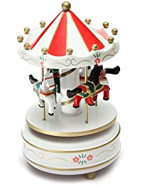 carousels – SODIAL (R) Musical Carrusel Caballo Carrusel de Madera Caja de música juguete