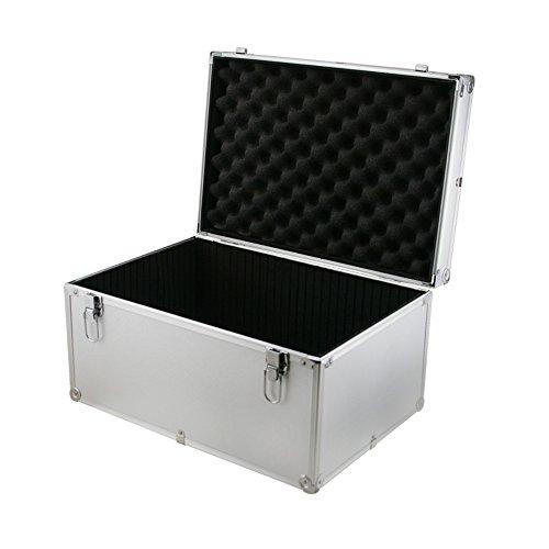 Aluminium-Flightcase/Transportkoffer, silberfarben, robuste Zubehör-Box, 450x 310x 240mm, interne Trennwand