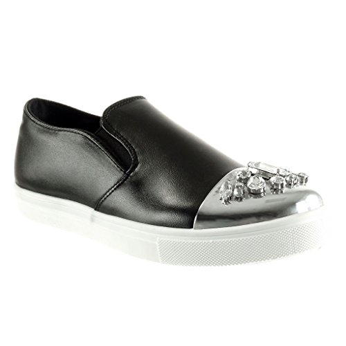 Angkorly - damen Schuhe Mokassin - Slip-On - sneaker Sohle - Schmuck - glänzende flache Ferse 2 CM Schwarz