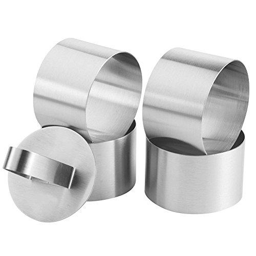 Dessert-ring (Nikgic Edelstahl Dessertringe Speisering Kochringe Dessert und Speiseringe Set und Lebensmittel Ring Press Set 4 Ringe 1 Hebel)