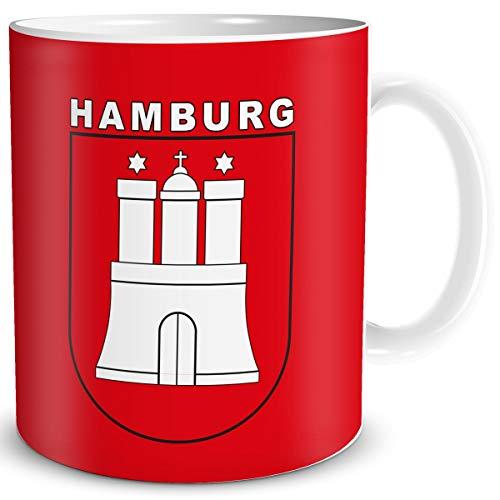 Tasse Hamburg mit Hamburger Stadt Wappen Geschenk Tassen Städte Reise Souvenir für reiselustige Frauen Männer