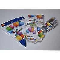 EXTRA Kit Party Tavola Deco Buon Compleanno e Palloncini +10 piattini diam.18,5 cm +20 Tovaglioli +10 Bicchieri + 1 Festone bandierine Set Tavola e addobbi