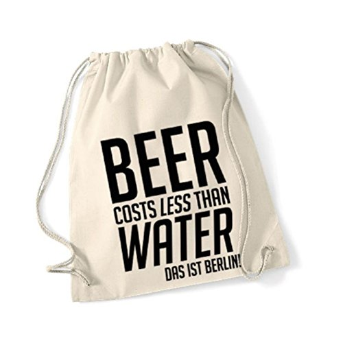 Rucksack Gym Bag Beer costs less...Baumwolle natur