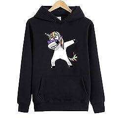 Idea Regalo - Desshok Donne Unicorno Stampa Felpe Tumblr Maniche Lunghe Pullover Felpa Cappuccio Casuale Sportive Tops Sweatshirt Autunno Inverno