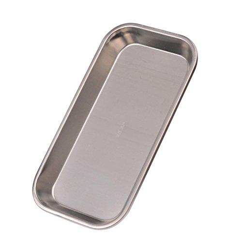BESTONZON Ovales Edelstahl-Handtuch-Tablett-zahnmedizinisches medizinisches flaches Labor-Snack-Instrument-Behälter-Silber