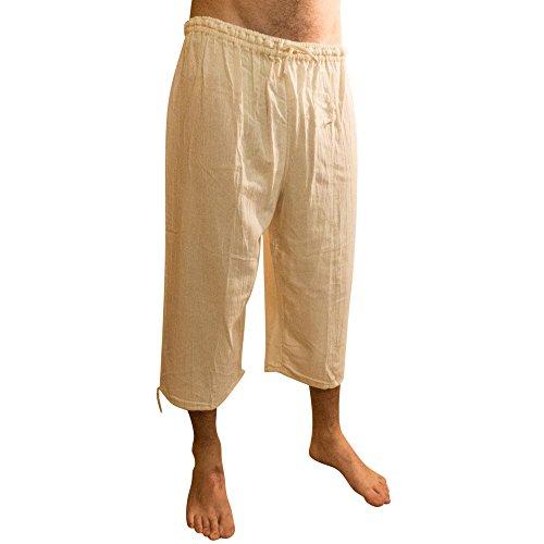 Sommer Dreiviertellange Hosen, elastischer Taillenbund, aus Baumwolle, ethisch gehandelt - aus Ecuador für Tumia LAC gefertigt - leichtes, kühles Material Beige