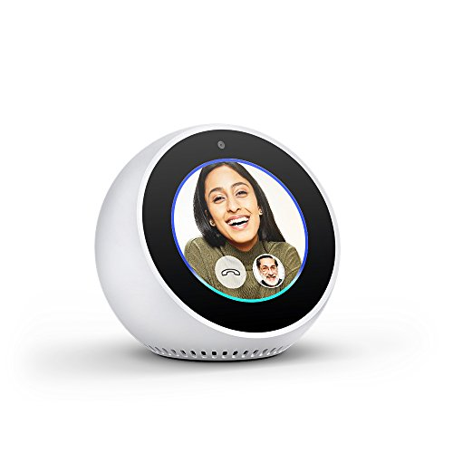 Echo Spot - Stylish echo with a screen, Make video calls, Voice control your music, news, weather & more - White