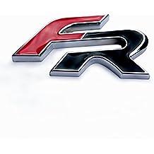LFOTPP XIYA01 Emblema FR en 3D para decorar el coche, negro, adhesivo, cromado