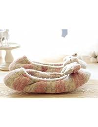 Interior casa zapatos de cachemira Lana hilado tejer mes cálido , pink , 38-39