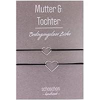 SCHOSCHON Mutter Tochter Armband Herz 925 Silber Schwarz- Silber | Partnerlook Liebe Schmuck-Set