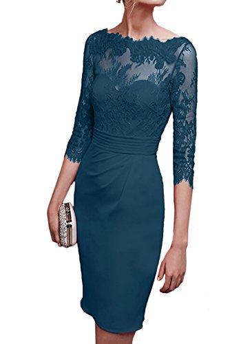 TOSKANA BRAUT Damen Neu Rund Spitze Rot Cocktailkleider Etui Kurz Arm Partykleider Abendkleider Inkblau