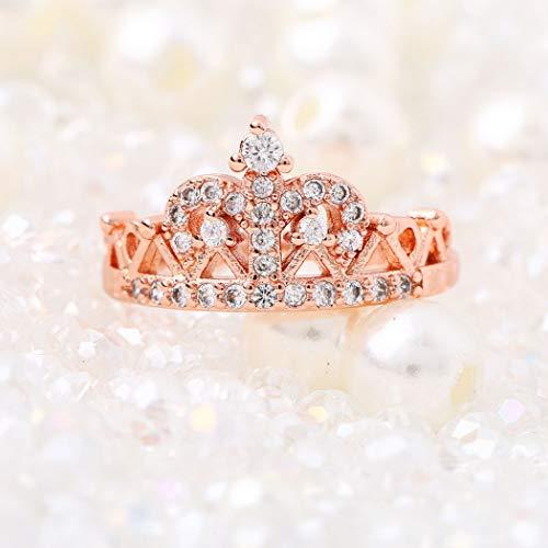 Yean Rosegold Damen Ring mit Krone, Kristall, Zirkonia überzogen, für Damen und Mädchen (Ring Mit Krone)