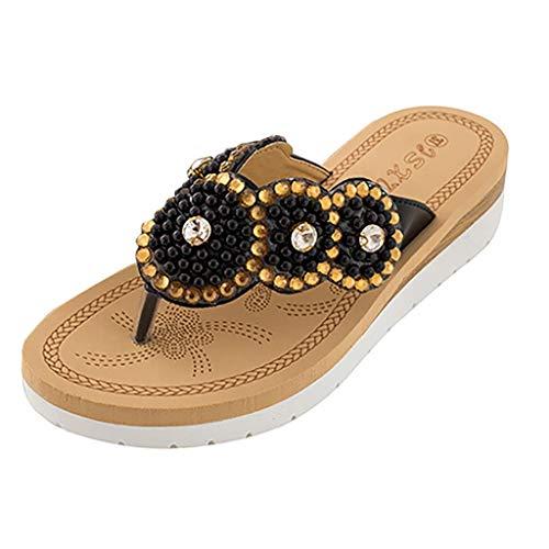 uhe Frauen Sommer Böhmen Low Wedge Sandalen Post Thongs Flip Flops Slipper Hausschuhe Bequeme Strand Schuhe für Mädchen Wide Fit mit Strass Perlengröße ()