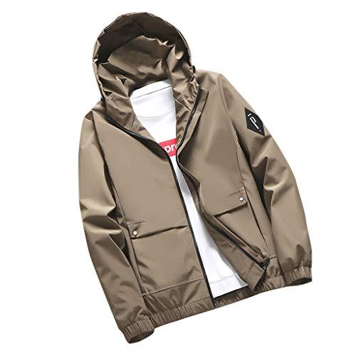 Aoogo Einfarbig Kapuze Sweatshirt Herren Große Größen Jacke Mantel Herbst Männer Lässige Mode Reine Farbe Hoodie Reißverschluss