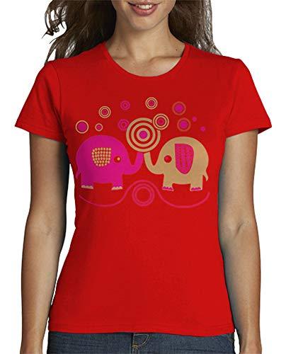 latostadora - Camiseta Elefantes Pareja para Mujer Rojo L