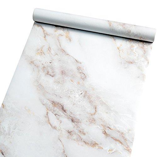 Homein Möbelfolie Marmor Folie Klebefolie Vinyl Selbstklebend Dekorfolie Fensteraufkleber PVC Aufkleber für Möbel Küche Küchenschrank Granit 44.5 x 200 cm (Grau Und Rosa Papier-platten)