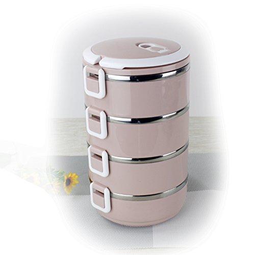 Luckyfree Lunchbox Scatola di pranzo in acciaio inossidabile gli studenti circolare pic-nic per adulti Bento Boxes 4 strato ,Four-Storey rosa+sacchetti+stoviglie The four-storey pink