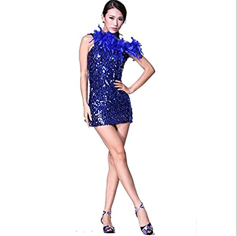 Byjia Plumes Et Paillettes Seule Épaule Jupe Danseur Latino . Blue . F