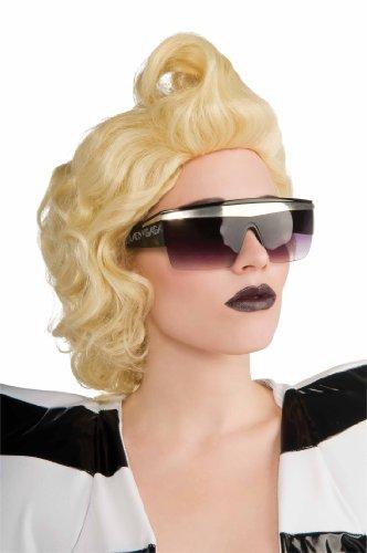 Original Lizenz Sexy Lady Gaga Sonnenbrille Sonnen Brille in Schwarz Silberbalken Silver (Womens Adult Kostüme Perücken)
