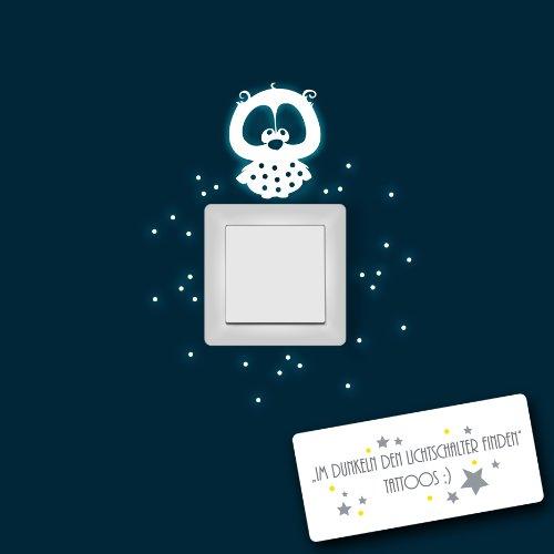 ilka parey wandtattoo-welt® Lichtschalteraufkleber Leuchtsticker Wandtattoo Eulenwandtattoo Eule Lilli mit Punkten für Lichtschalter leuchtend fluoreszierend nachtleuchtend Wandsticker Wandaufkleber Sticker Aufkleber M956