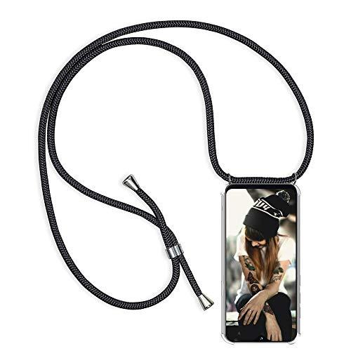 Handykette für Samsung Galaxy S6 Edge Hülle, Necklace Handyhülle mit Band Kordel Umhängen Handyanhänger Halsband Lanyard Durchsichtig Silikon TPU Gel Schutzhülle Anti-Shock - Schwarz