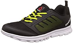 Reebok Mens Run Stormer Black, Semi Solar Yllw and Wht Running Shoes - 11 UK/India (45.5 EU) (12 US)