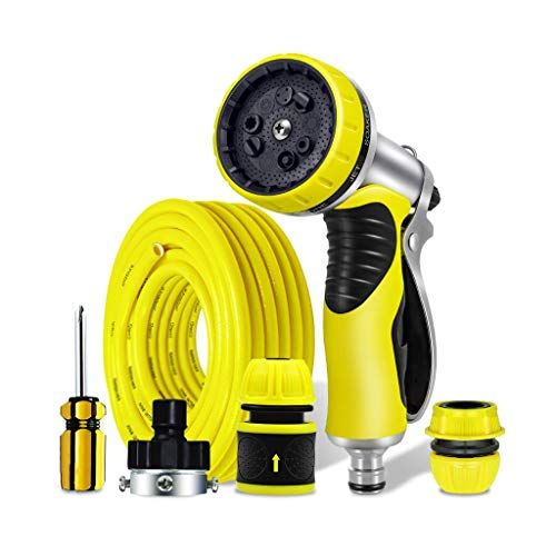 ZHAO YING Garden Hose Nozzle, Water Tube Sprayer, 9 Spray Patterns, Heavy Duty Leakproof Alloy Design (yellow) (Color : Yellow, Size : 10m)