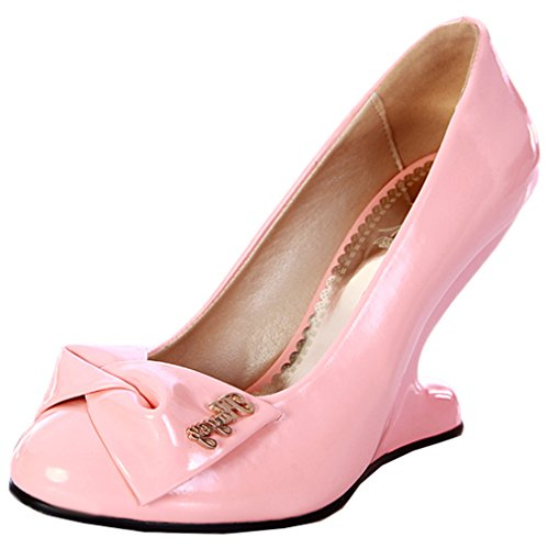 ENMAYER Femmes Party Solid Sexy Spécial Wedge High Heel Pumps avec Bow Tie Rose