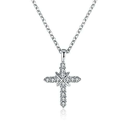 Bodya Plaqué or X Collier Pendentif Oxyde de Zirconium Croix chrétienne religieuse Bijoux Chaîne de 50,8cm - Blanc/doré