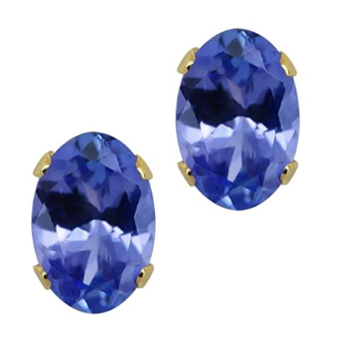 1.00 Ct Oval 6x4mm Genuine Tanzanite Solid Solid 14K Yellow Gold Stud Earrings
