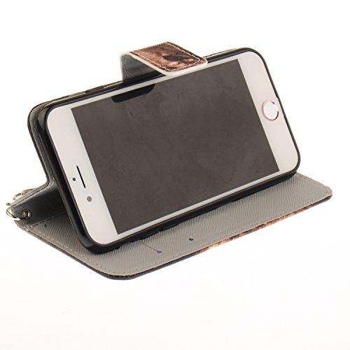 Custodia iPhone 7 / iPhone 8 Cover ,COZY HUT Flip Caso in Pelle Premium Portafoglio Custodia per iPhone 7 / iPhone 8, Retro Animali di cartone animato Modello Design Con Cinturino da Polso Magnetico S Leone