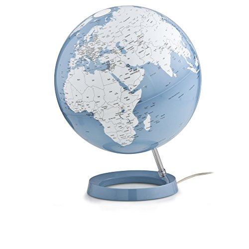 Lampe globe terrestre design bleu blanc sur socle bleu