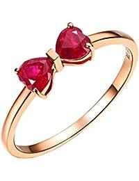 DEHANG - Anillo de Oro de rosa 18k - Diseño con Gema Lazo - Alianzas de Boda Compromiso Amor regalo para Mujer San Valentín - Talla 15 - con caja