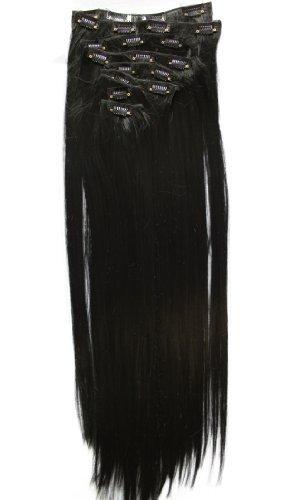PRETTYSHOP XXL 60cm 8 teiliges SET Clip In Extensions Haarverlängerung Haarteil hitzebeständig glattschwarz 1 - Set Haar-clip,