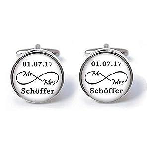 Manschettenknöpfe Bräutigam, Mr Mrs Unendlichkeit mit Namen Datum, Hochzeit