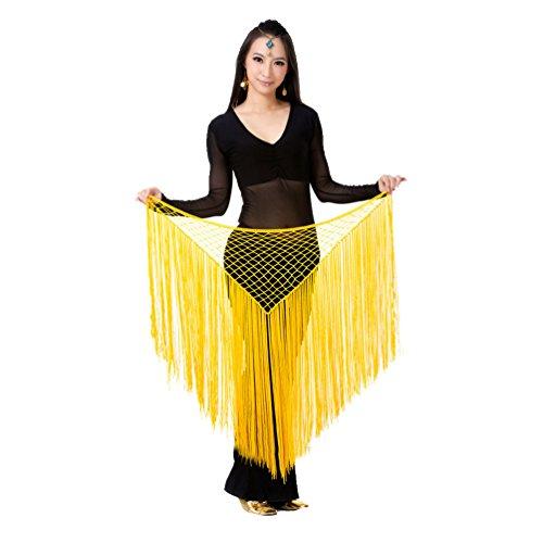 fttuch & Schal Dreiecks Bauchtanz Hüfttuch Gürtel mit Pailletten & Quasten ägyptischen Stil Netto Hüfttuch Gelb (Ägyptische Bauchtänzerin Kostüm)
