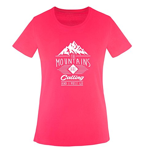 Comedy Shirts - The mountains are calling and i must go - Damen T-Shirt - Sorbet / Weiss Gr. S