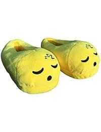 Zapatillas de andar por casa, diseño de emoticono durmiendo, unisex, para adultos, para invierno, de felpa