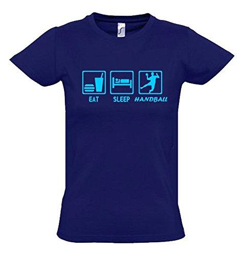EAT SLEEP HANDBALL Kinder T-Shirt navy-sky, Gr.152cm